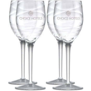 9.5 oz. Romantica White Wine Set of 4-Deep Etched